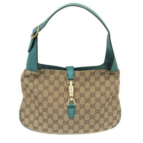 Sac Gucci Jacky O Toile Monogramme Et Cuir Bleu garanti authentique IconPrincess
