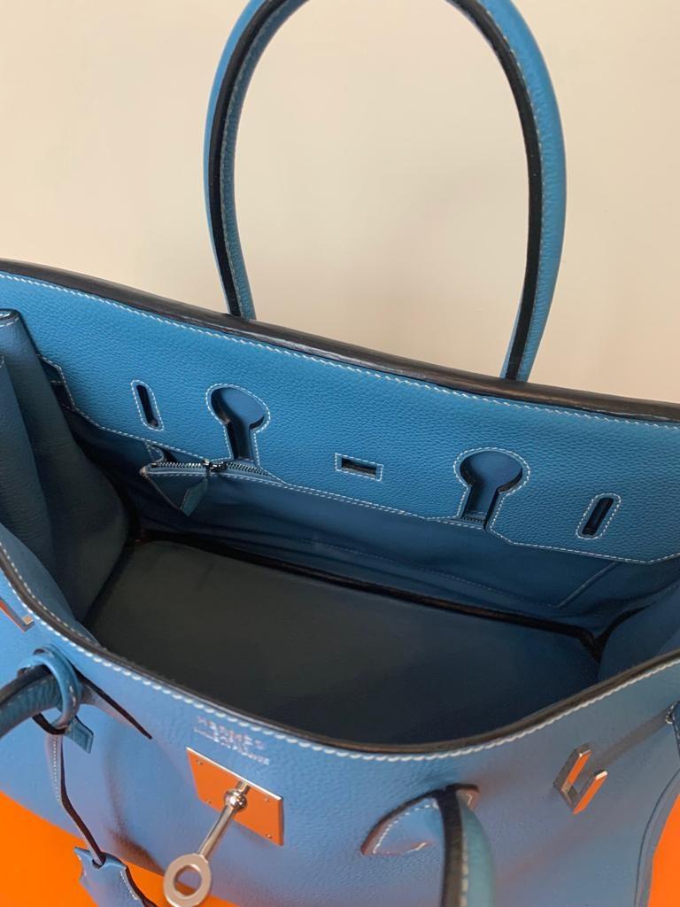 Hermès Birkin 35 cuir Togo bleu