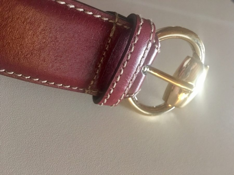 Gucci ceinture en cuir bordeaux certifié