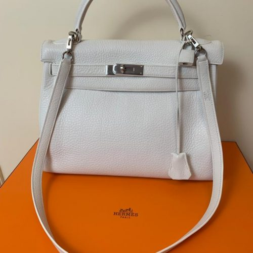 Hermès Kelly en cuir Clémence blanc 32 cm