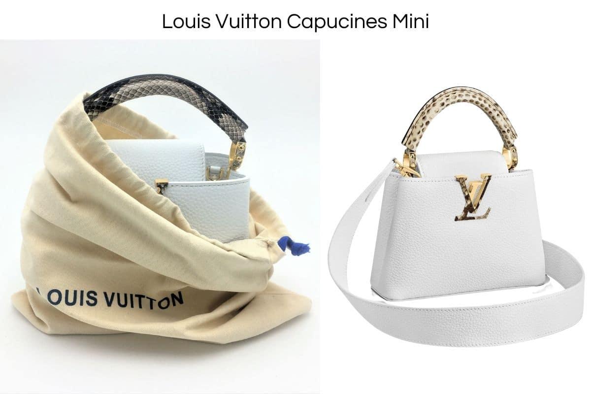 Authentique Louis Vuitton Capucines Mini en Cuir Blanc