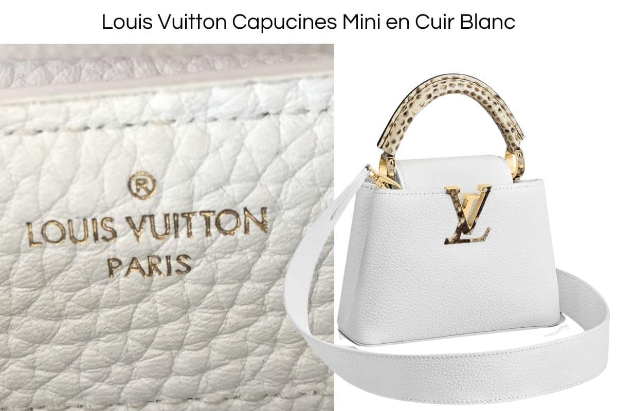 Vrai Louis Vuitton Capucines Mini en Cuir Blanc