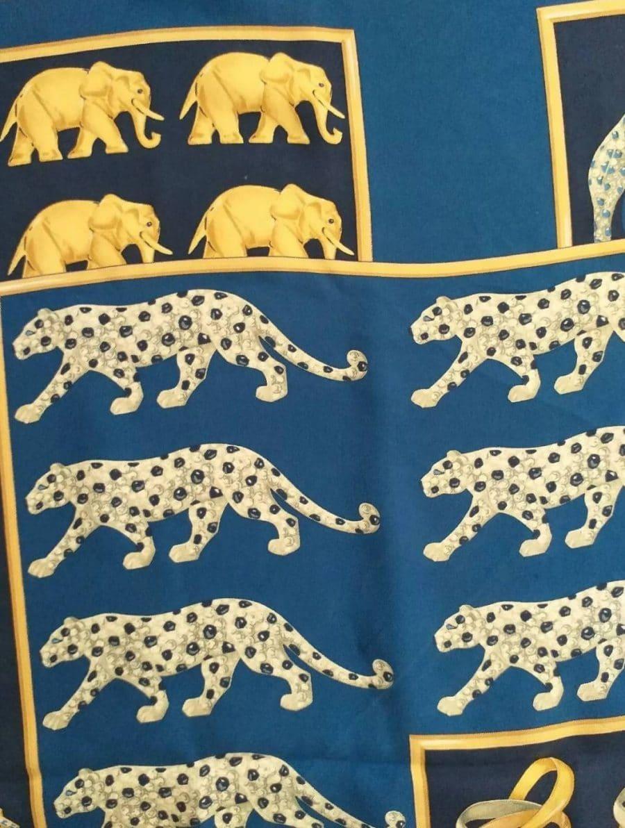 Cartier foulard soie bleue et jaune certifié