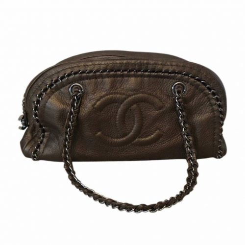 Chanel Just Mademoiselle en cuir bronze authentique de iconprincess