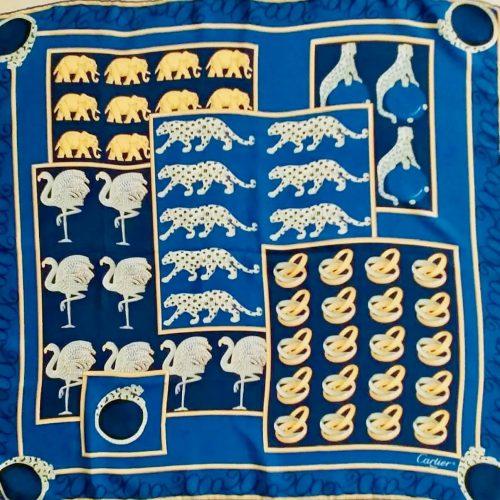 Cartier Foulard Soie Bleu Et Jaune