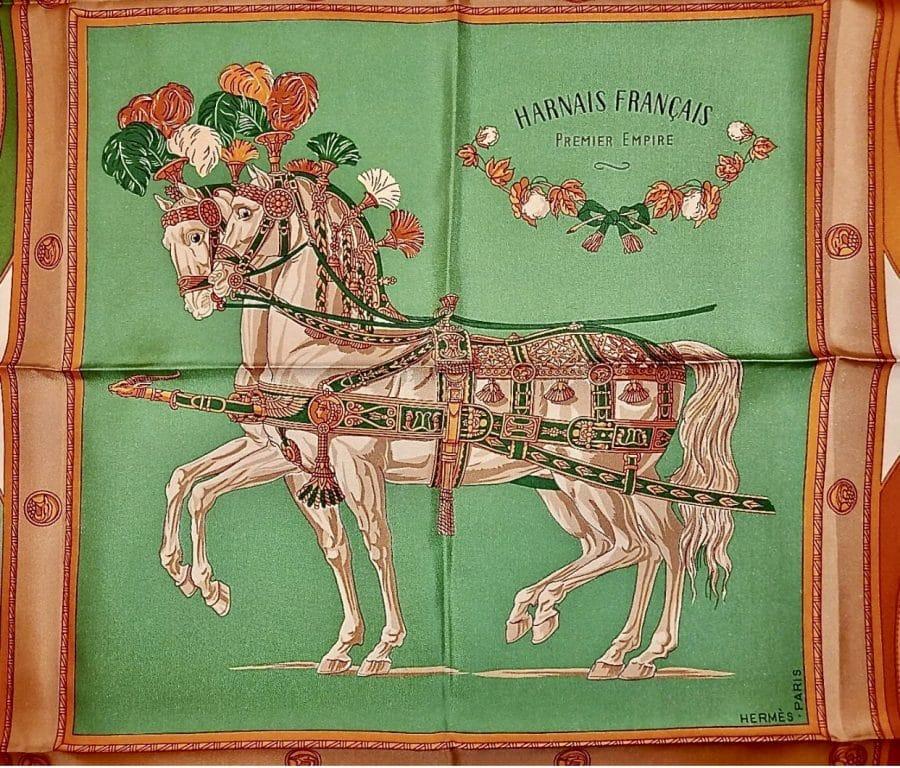 Hermès carré Harnais Français vert bleu rouge et jaune