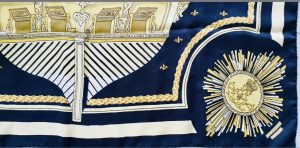 Hermès carré Le soleil royal noir et jaune