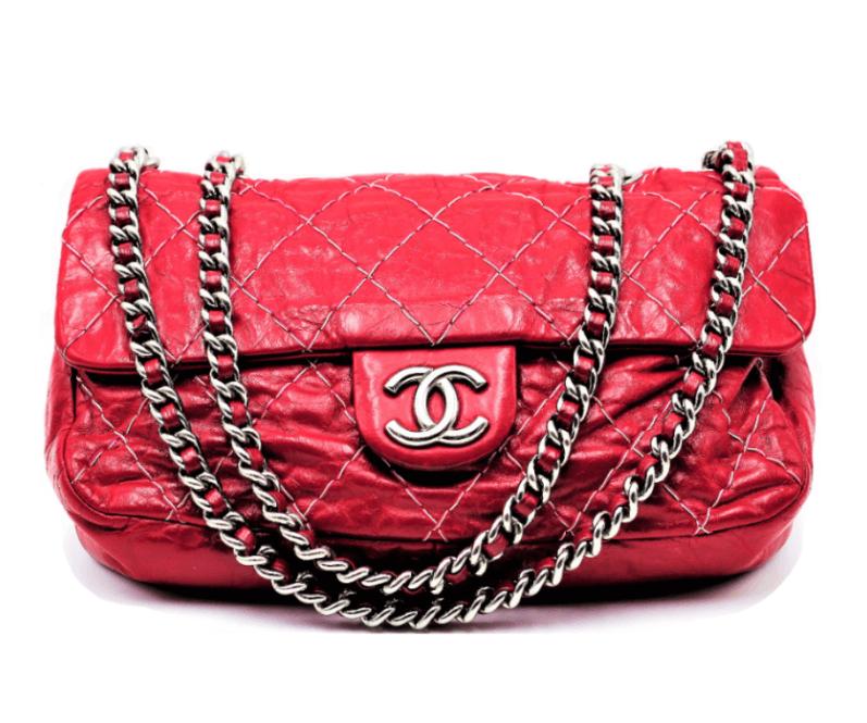 Chanel Timeless Cuir Vieilli Rouge Cerise Accueil