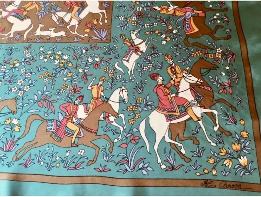 Foulard Canova cavaliers verts et marron certifié