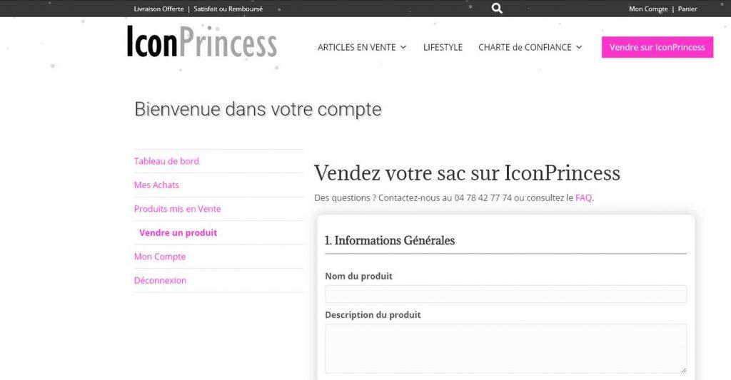 Vendre Son Sac Sur Icon Princess