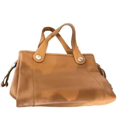 Authentique sac à Main Longchamp Cuir Camel d'occasion
