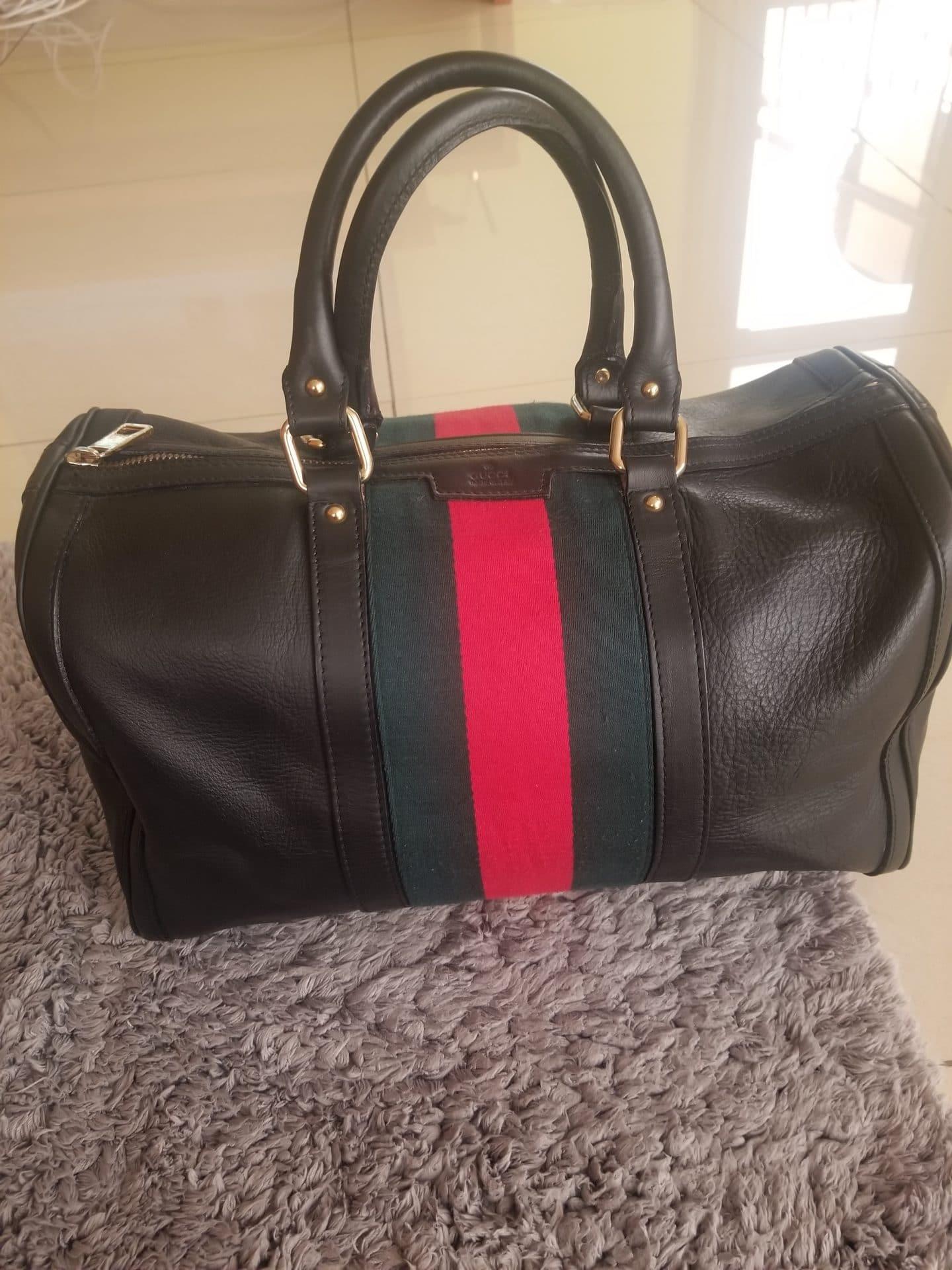 Sac Gucci Boston cuir grainé marron bande web authentique occasion