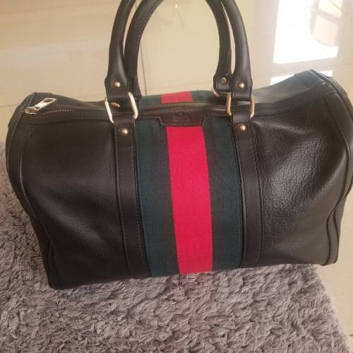 Sac Gucci Boston cuir grainé marron bande web authentique occasion