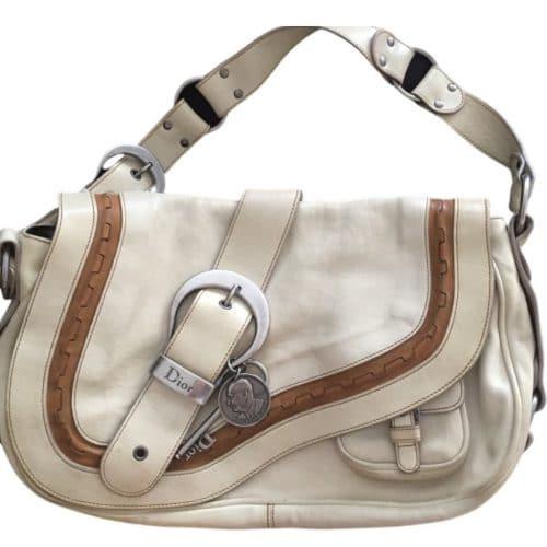 Sac Dior Gaucho cuir blanc cassé certifié authentique