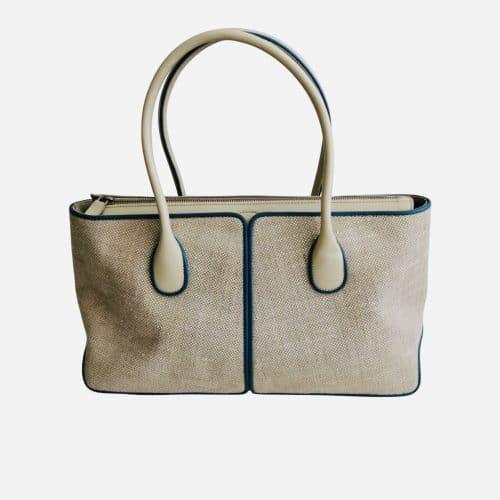 Superbe sac TOD's en cuir beige et toile écrue. Très bon état. Prix mini et livraison offerte.