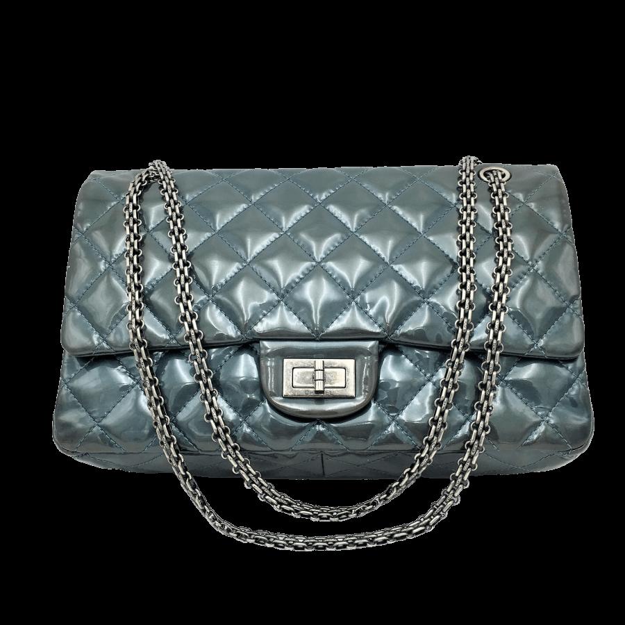 Sac Chanel 2.55 Jumbo cuir verni en excellent état sur IconPrincess