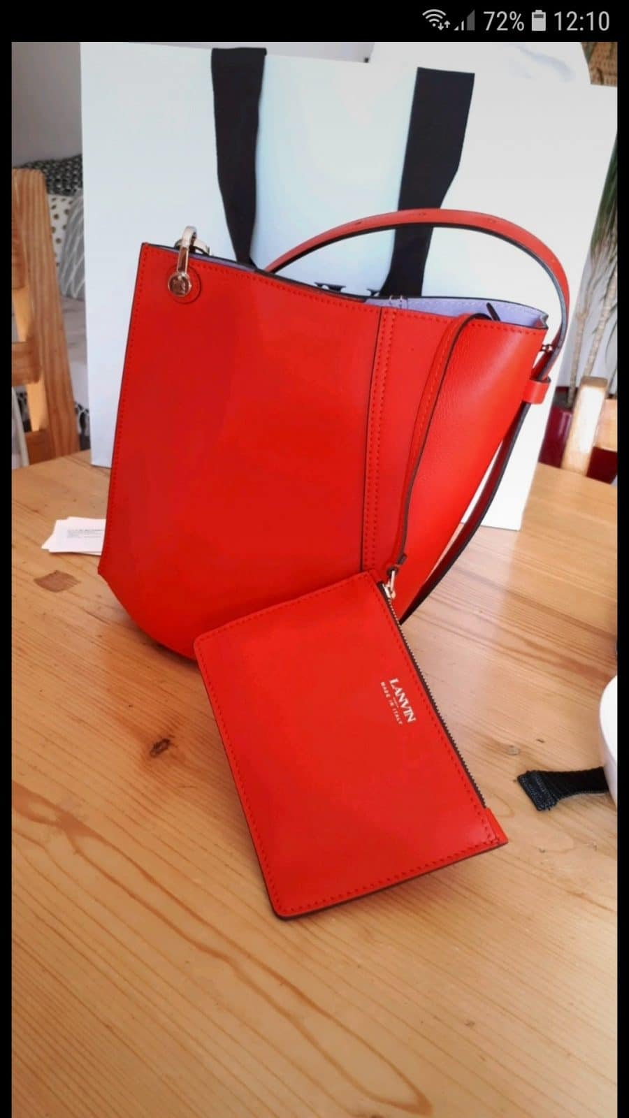 Lanvin Asymetrical small bucket cuir rouge état neuf - IconPrincess