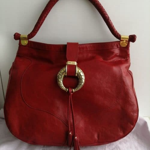 Sac Jimmy Choo cuir rouge en très bon état sur IconPrincess, Icon Princess
