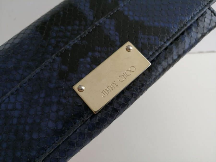 Sac Jimmy Choo blue snake cuir, excellent état. Iconprincess, icon princess