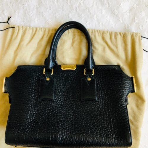 Sac Cabas Burberry en cuir noir, état neuf. Iconprincess, icon princess