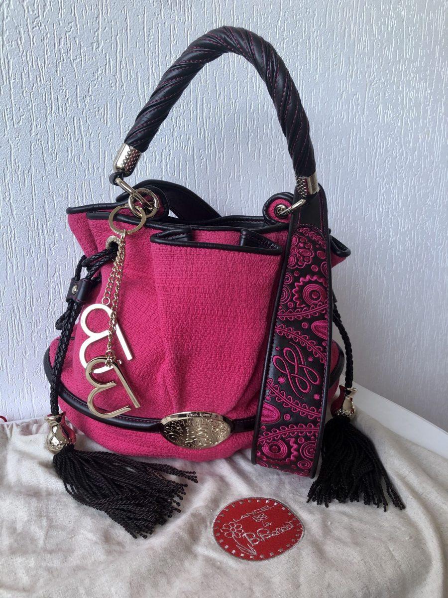 Lancel BB Brigitte Bardot Tweed rose fushia contrasté cuir noir