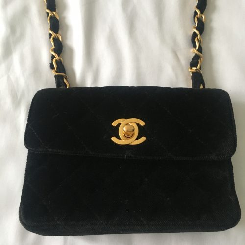 Chanel Mini Timeless vintage velours noir