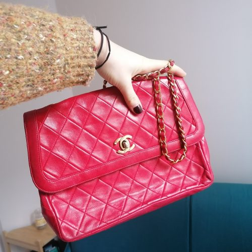 Sac Chanel Timeless vintage en cuir rouge