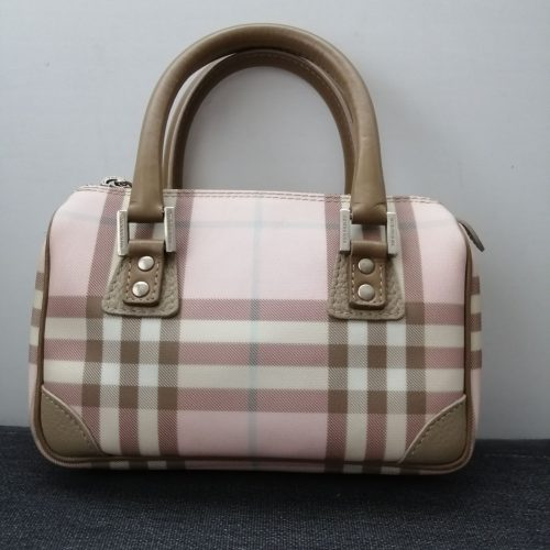 Burberry petit sac tartan rose cuir beige