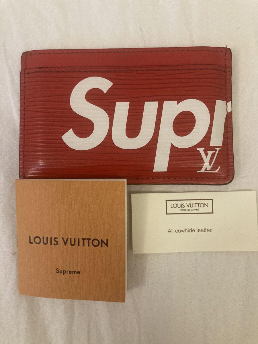 Louis Vuitton Porte Carte X Suprême cuir épi rouge