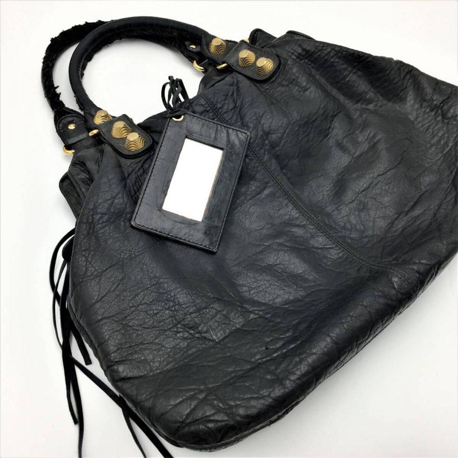Balenciaga City Giant cuir noir vieilli