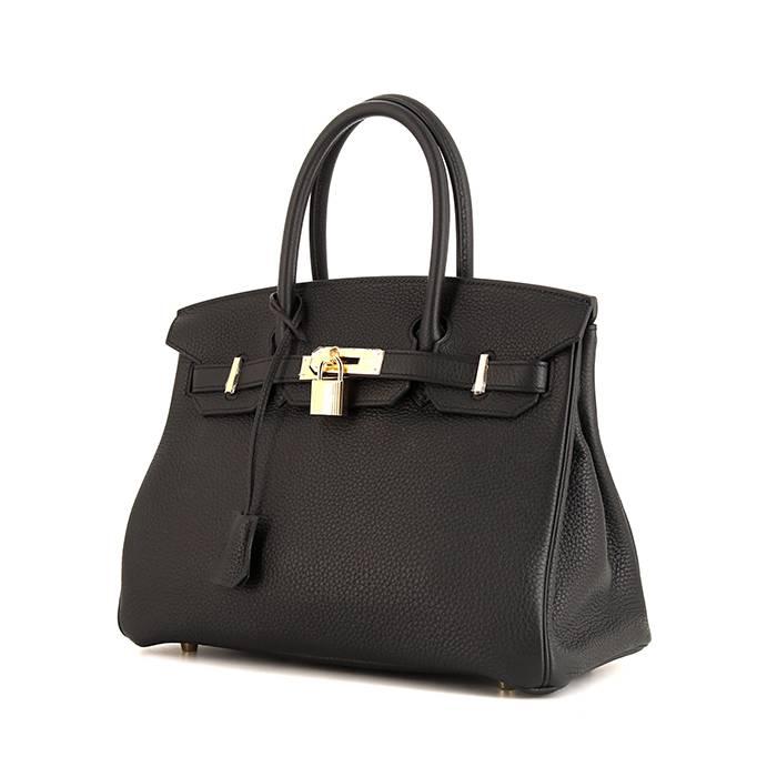 Hermès Birkin 30cm en cuir Togo noir. Excellent état