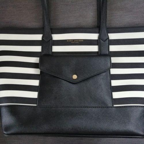 Marc Jacobs cuir stripe saffiano noir et blanc