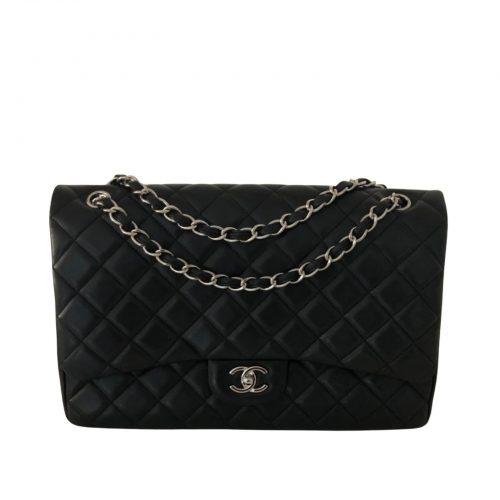 Chanel Timeless Jumbo cuir noir et ruthenium