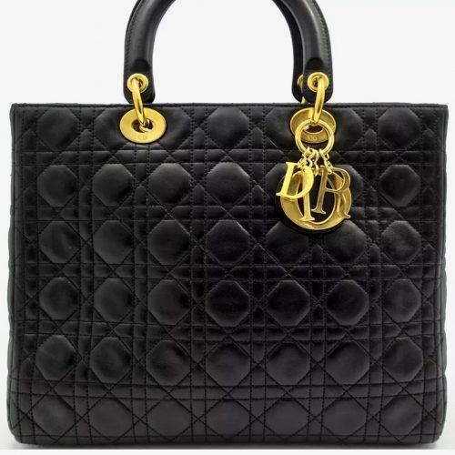 Lady Dior GM Cuir Noir Matelassé - Occasion en Très Bon Etat