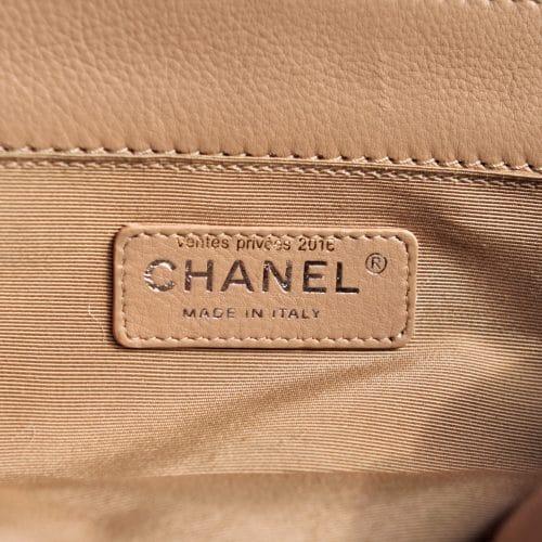 Sac Chanel Boy taille M Cuir Beige -Occasion en Excellent Etat