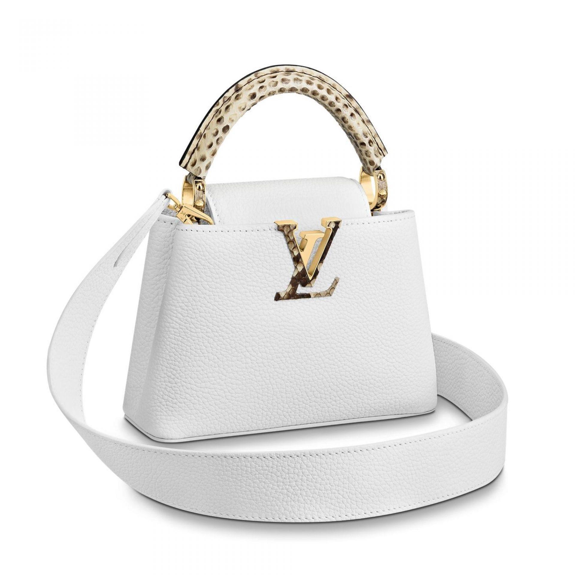 Louis Vuitton Capucines Mini Cuir Blanc et Python - NEUF