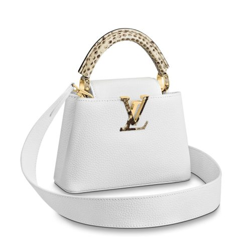 Louis Vuitton Capucines Mini Cuir Taurillon Blanc et Python Précieux - Occasion Parfait état